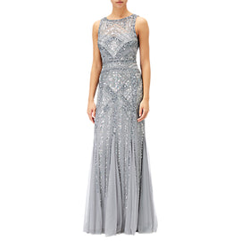 Adrianna Papell Sleeveless Round Neck Beaded Gown- Silver/Grey