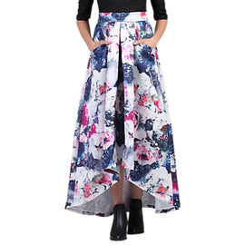 Jolie Moi High Low Hem Floral Prom Skirt- Grey Pattern