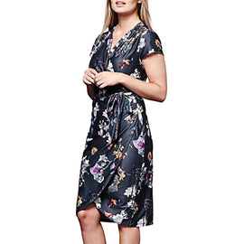 Yumi Winter Floral Wrap Dress- Dark Grey