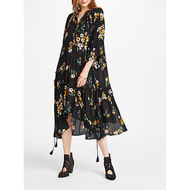 AND/OR Demelza Print Dress- Black/Ochre
