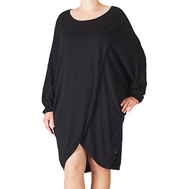 ADIA Pullover O-Neckline Dress- Black