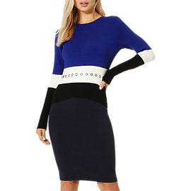 Damsel in a dress Splice Knitted Dress- Colbalt/Black