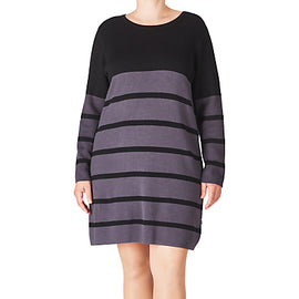 ADIA Striped Pullover Dress- Dark Iron