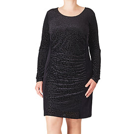 ADIA Burn Out Velour Dress- Black