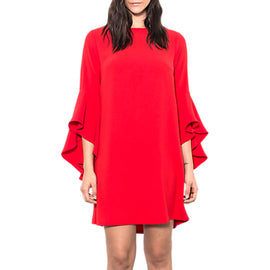 Wild Pony Statement Sleeve Mini Shift Dress- Red