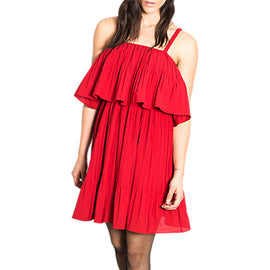 Wild Pony Cropped Overlay Ruffled Party Dress- Red