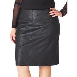 ADIA Leather Look Skirt- Black