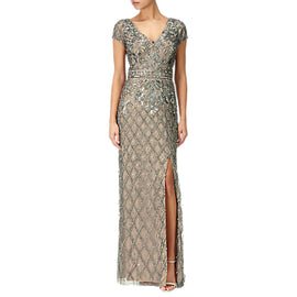 Adrianna Papell Beaded Deep V-Neck Gown- Lead/Nude