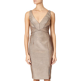 Adrianna Papell Panelled Bodice Sheath Dress- Rose Gold