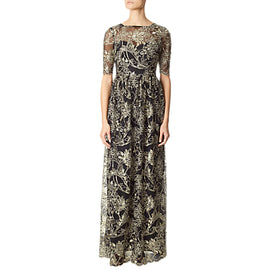 Adrianna Papell Embroidered Floral Illusion Neckline Dress- Black/Gold