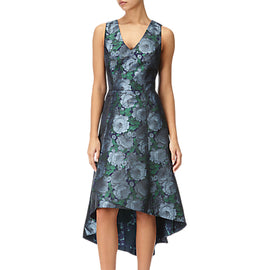 Adrianna Papell High-Low Floral Dress- Blue/Navy