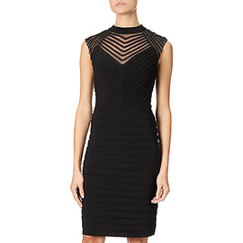 Adrianna Papell Banded And Soutache Sheath Dress- Black