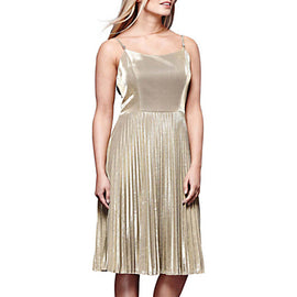 Yumi Sparkly Pleated Party Dress- Gold