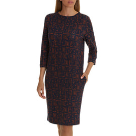 Betty & Co. Graphic Print Dress- Dark Blue/Brown
