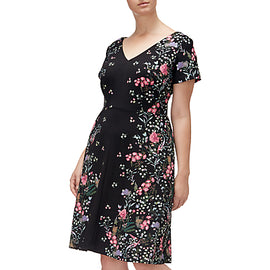 Adrianna Papell Floral Printed Crepe Scuba Plus Dress- Black/Multi