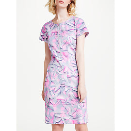 Marc Cain Printed Bodycon Neoprene Dress- Pink/Grey