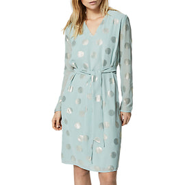 Selected Femme Valora Foil Spot Dress- Light Green