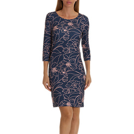 Betty Barclay Floral Print Jersey Dress- Dark Blue/Rose