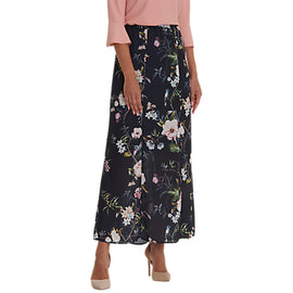 Betty Barclay Floral Print Maxi Skirt- Dark Blue/Rose