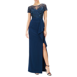 Adrianna Papell Petite Beaded Gown- Deep Blue