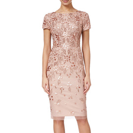 Adrianna Papell Floral Beaded Short Dress- Rose Gold