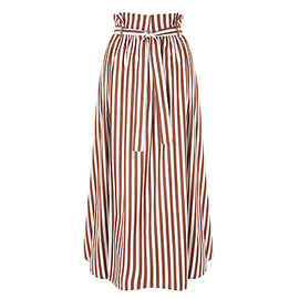 Weekend MaxMara Cotton Stripe Skirt- Brown
