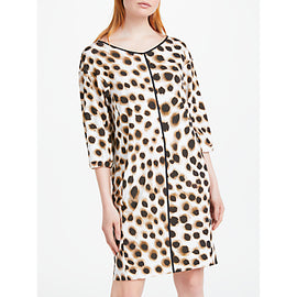 Marc Cain Animal Print Shift Dress- Brown/Cream