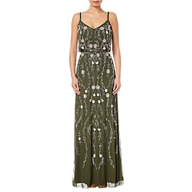 Adrianna Papell Petite Floral Beaded Blouson Gown- Olive/Multi
