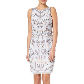 Adrianna Papell Halter Floral Beaded Cocktail Dress- Serenity