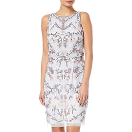 Adrianna Papell Petite Halter Floral Beaded Cocktail Dress- Serenity