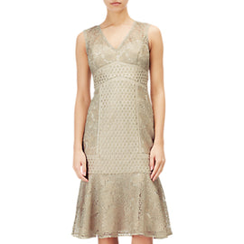 Adrianna Papell Short Metallic Lace Dress- Gold