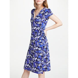 Boden Floral Summer Wrap Dress- Blue
