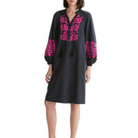 Toast Embroidered Cotton Kaftan Dress- Slate/Fuschia