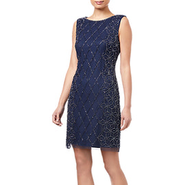 Adrianna Papell Embellished Cocktail Dress- Navy/Gunmetal