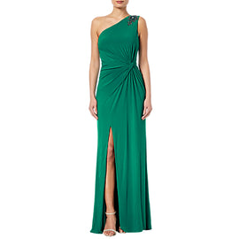 Adrianna Papell Jeweled One-Shoulder Draped Gown- Vivid Malachite
