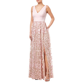 Adrianna Papell Embellished Tulle Dress- Satin Blush