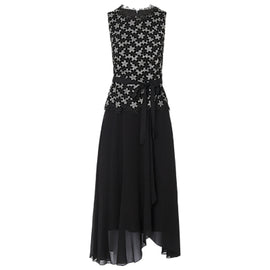 L.K.Bennett Johanna Lace Trim Dress- Black/Floral