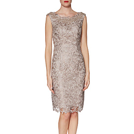 Gina Bacconi Libby Lace Dress and Scarf- Beige