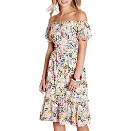 Yumi Bardot Floral Dress- Light Pink