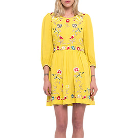 French Connection Saya Crepe Dress- Dark Citron