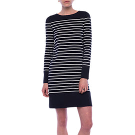 French Connection Tim Tim Striped Tunic Dress- Utility Blue/Classic Cream