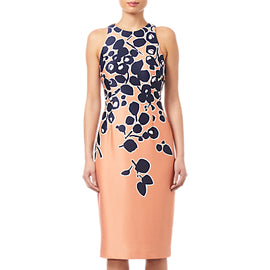 Adrianna Papell Spotted Garden Printed Dress- Apricot/Navy