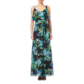 Adrianna Papell Printed Burn Out Maxi Dress- Black/Multi