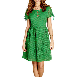 Yumi Broidery Lace Dress- Green