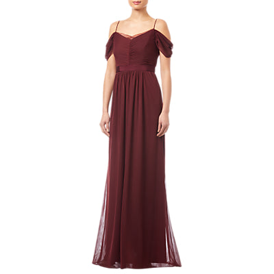 Adrianna Papell Tulle Draped Gown- Deep Wine