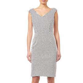 Adrianna Papell Striped Ottoman Sheath Dress- Ivory/Black