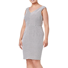 Adrianna Papell Plus Size Striped Dress- Black/Ivory