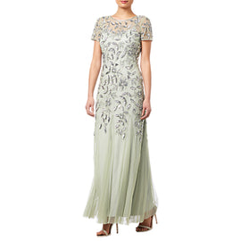 Adrianna Papell Floral Beaded Godet Dress- Mint