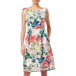 Adrianna Papell Petite Stained Glass Floral Dress- Khaki/Multi