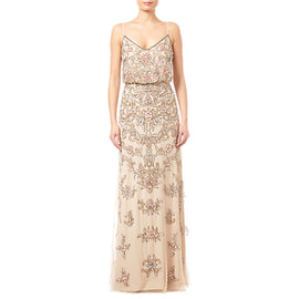 Adrianna Papell Beaded Floral Dress- Nude